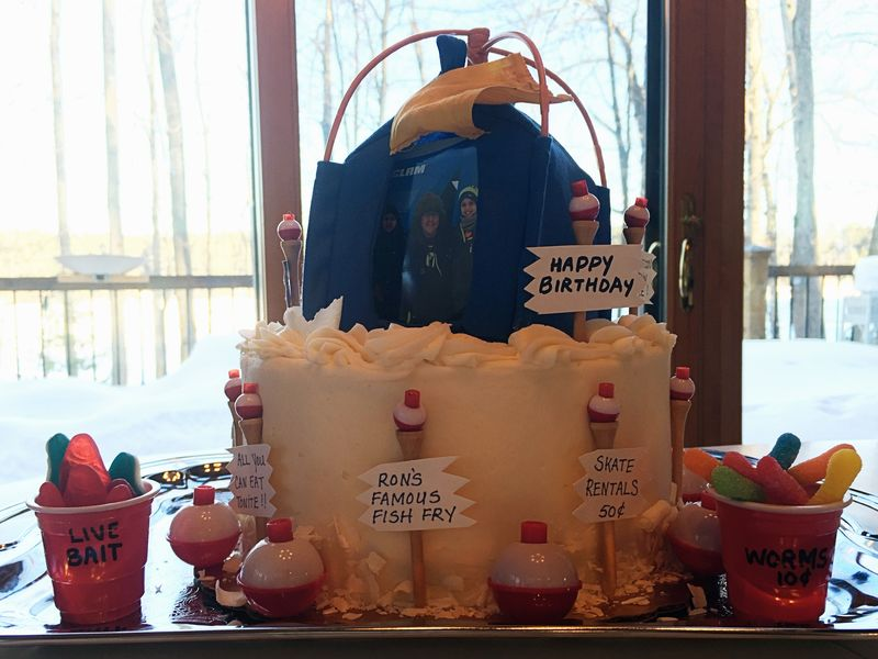 Ice Fishing Birthday Cake